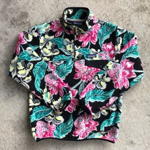 Patagonia Snap T Fleece Small Black Pink Flower